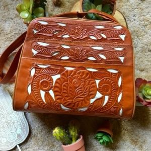 {Vintage 60's} Mexican Tooled Leather Floral Purse